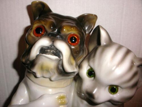 Exquisite antique Germany ? large porcelain dog & cat double money bank figure