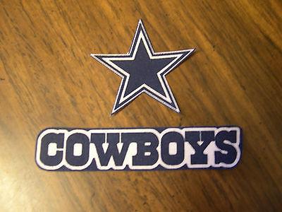 "Dallas Cowboys  Iron on Cotton Patch (2) 4 1/2"" x 1"" & 2 1/2"" x 2 1/2"" NEW"