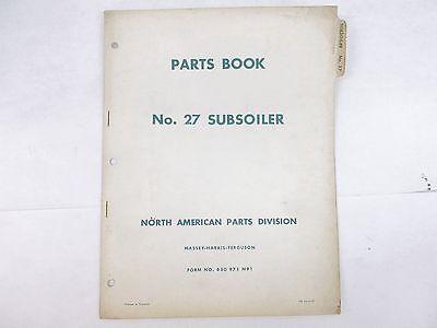 Massey Ferguson No. 27 Subsoiler Parts Book