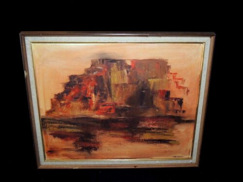 Mid-century Oil Canvas Abstract Painting Of Red Mountains By M.bigelow - Signed