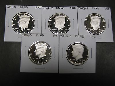 Click now to see the BUY IT NOW Price! 2011 S 2012 S 2013 S,2014 S & 2015 S CLAD PROOF KENNEDY HALF DOLLARS 5 COINS