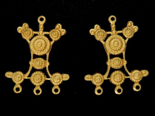 Vintage Brass Stampings of Ornate Earrings/ Four Loops /  One Pair