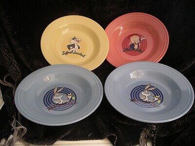 Fiestaware Fiesta 4 Bowls Looney Tunes, Warner Bros, Homer Laughlin Nice!