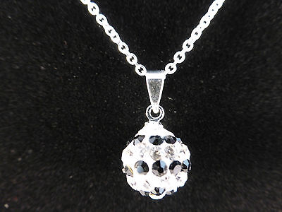 Silver Black Row Crystal Necklace - Crystal Ball Silver Black & White Rows Necklace + Free Bag