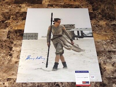 Daisy Ridley Rare Signed Star Wars 16X20 Photo Rey Force Awakens Last Jedi Psa