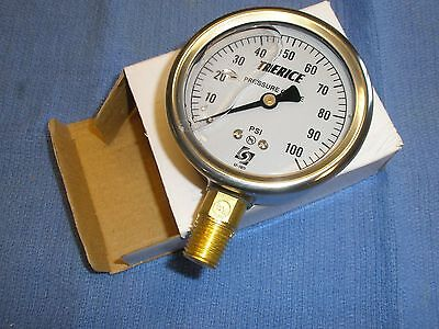 100 Psi Stainless Gauge Air Water Pressure Liquid Filled Trerice D82lfb 2-12