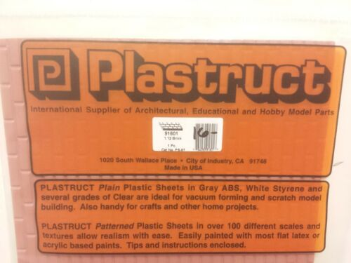 """Plastruct 91601 RED CLAY BRICK PATTERNED SHEET Scale 1:12 Styrene 7"""" by 24"""""""