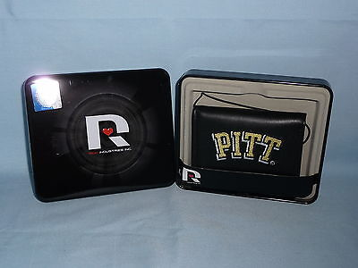 PITTSBURGH Pitt PANTHERS embroidered Leather TriFold Wallet NEW in TIN BOX black ()