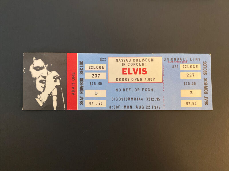 ELVIS Concert Ticket Nassau Coliseum Aug. 22, 1977 Memphis Memorial Society