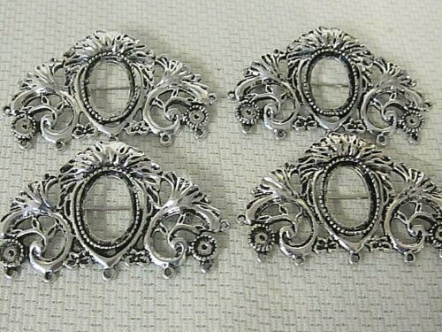 4 Brooches pins Antique Silver 18x13mm OVAL Cameo setting Vtg Victorian Deco STY