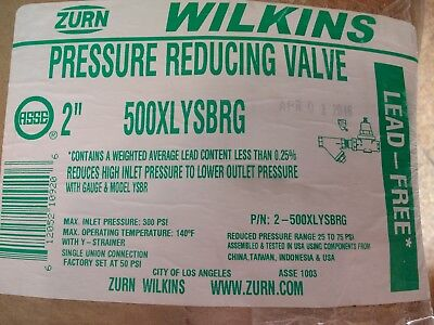 Zurn Wilkins Pressure Reducing Valve 2 500xlysbrg