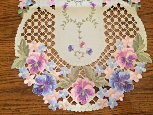 Purple Pansy Table Runner
