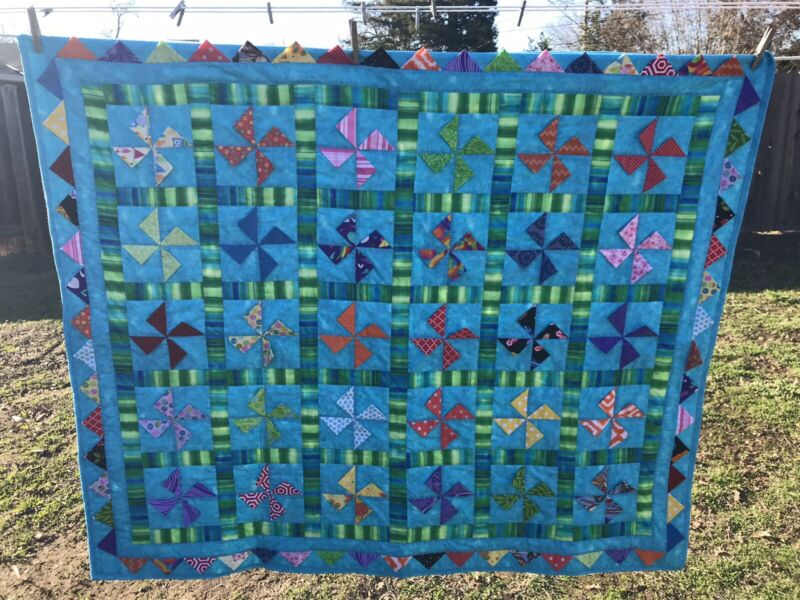 """New Teal Grey And Blue Sharks Handcrafted Baby / Lab Crib Quilt  46"""" X 52"""""""