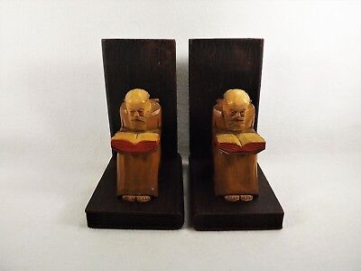 Hand Carved Bookends Monks Reading & Sitting On Books Old Tiger Quarter Saw Oak for sale  Powhatan
