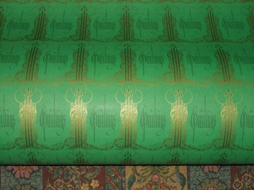 VTG CHRISTMAS WRAPPING PAPER GIFT WRAP 2 YARDS GREETINGS ART DECO 1930 CANDLES
