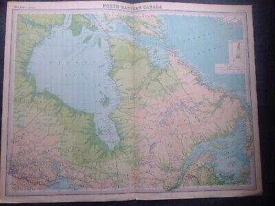 NORTH EASTERN CANADA 1922 WORLD MAP,TIMES ATLAS,BARTHOLOMEW,EDINBURGH,