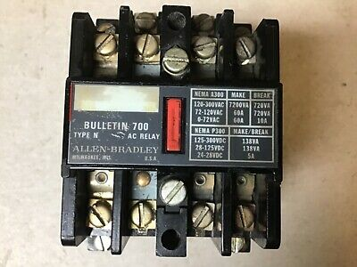 Allen Bradley 700-n400a1 Control Relay With 120 Volt Coil