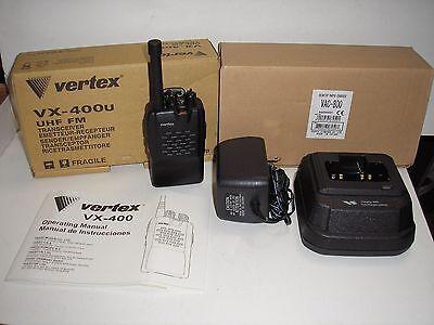 Vertex Vx 400U Uhf 450 485 Mhz 2 Way Radio W Quick Charger   Battery New