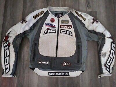 Icon Motorsports Merc Hero Leather Jacket Small White astars Stunt street HD FS
