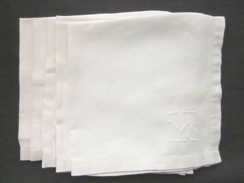 "Set 6 Antique Linen "" S "" MONOGRAM DINNER NAPKINS  16"" sq. Fagoting Stitch Edge"