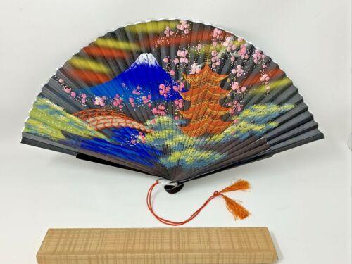 Vintage Japanese Hand Fan Hand Painted Mount Fuji Estate Black Lacquer