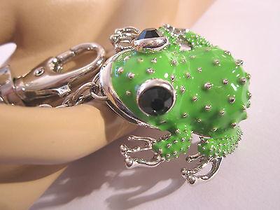STRASS Schlüsselanhänger Taschenanhänger Emaille Frosch Kröte Silber Grün