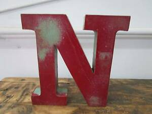 "D11081 Metal Red Teal Green Letter ""N"" Industrial Wall Decor Unley Unley Area Preview"