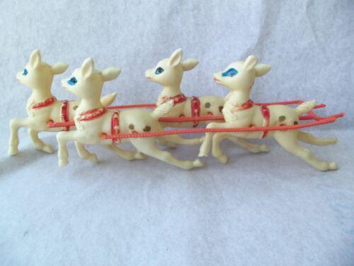 Vtg Christmas Reindeer Lot Plastic Reins Harness! 4!   NO SLEIGH!  BLUE EYES!