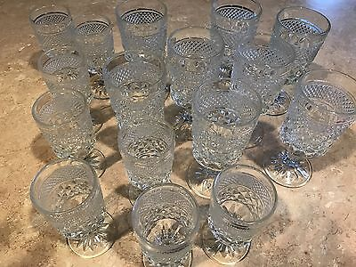 Vintage Lot Anchor Hocking Wexford Diamond Clear 8 Water Goblets 8 Juice Glasses