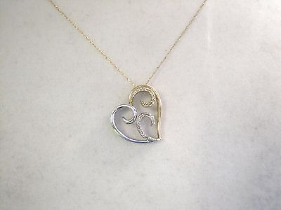 Diamond Set Open Heart (Beautiful Diamond open Heart Pendant & Chain Set 10K Yellow/White Gold Ladies )