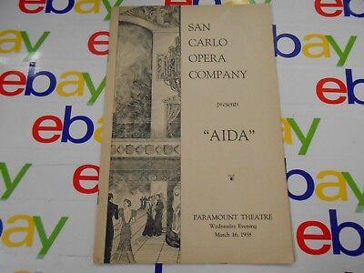 "San Carlo Opera Company presents "" AIDA"" - Paramount Theatre- March 16,1938"