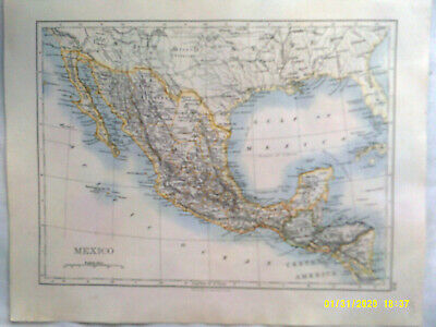 Double-sided Antique Map. MEXICO with the WEST INDIA ISLANDS. c1895. VG.