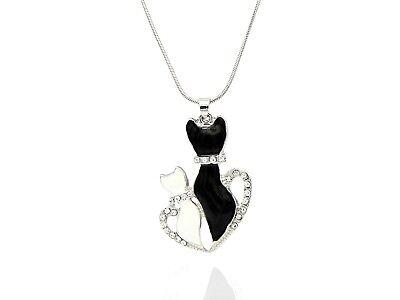 Strass Kristall Anhänger (Katzen Paar Liebe Tier schwarz weiß silber Strass Kristall Anhänger Halskette )