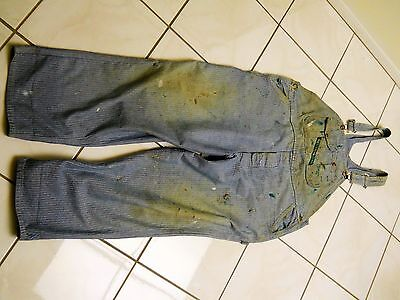 Vintage Key Brand Bib Overalls, Worn, Torn & Stained, Button Fly