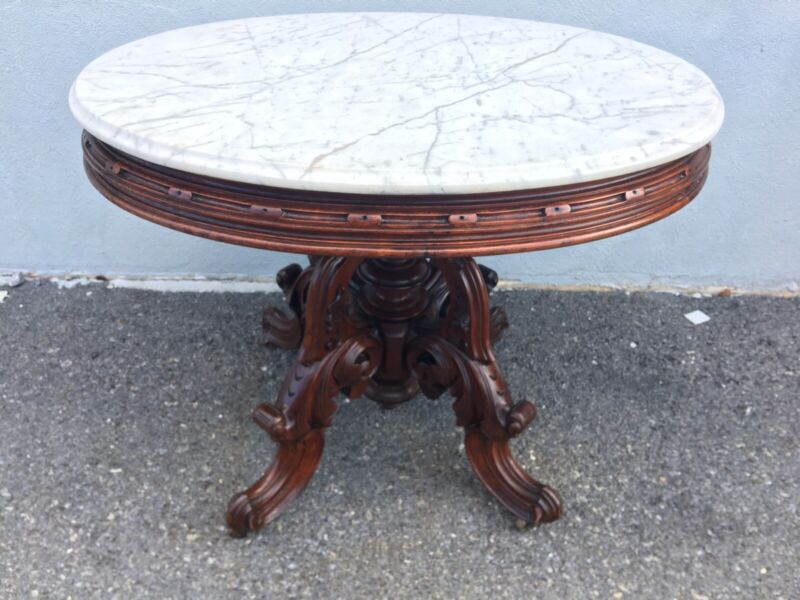 Victorian Thomas Brooks Marble Top Table 1870s