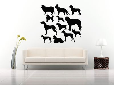Wall Room Decor Art Vinyl Sticker Mural Decal Types Of Dog Breeds Pattern FI113