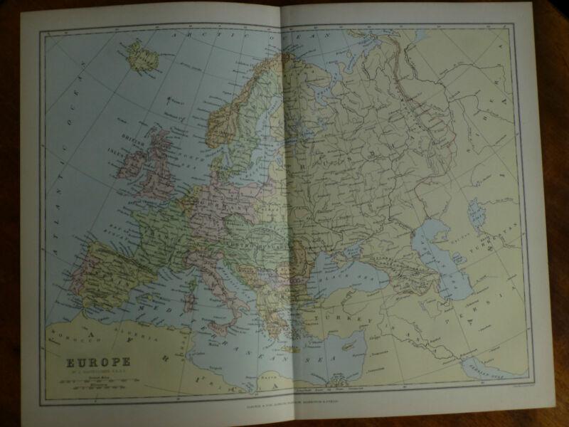 1874 ENGRAVING MAP - ENGLAND & WALES By Bartholomew MONTGOMERY Westmorland KENT