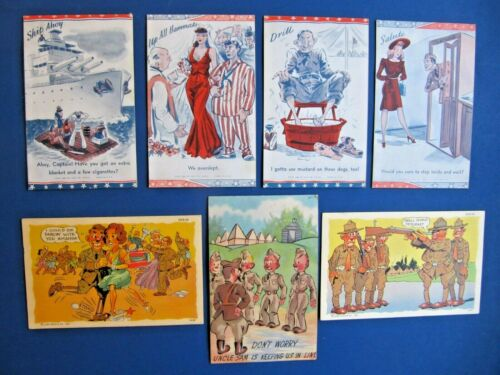 7 Lot - 1941 Circa MILITARY C.T. ARMY COMICS Misc. Post Cards