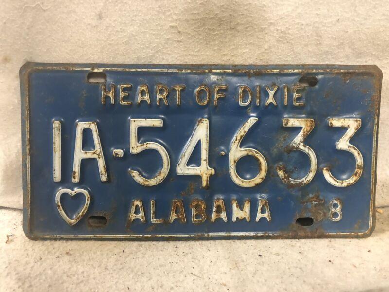 Vintage 1958 Alabama License Plate