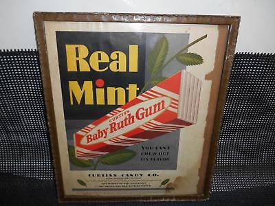 Antique 1929 CURTISS BABY RUTH GUM Magazine Ad ADVERTISING Wood Frame Hanging