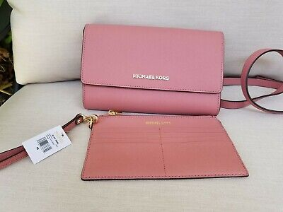 NEW Michael Kors 3 in 1 Jet Set Saffiano Leather Crossbody Wallet Clutch Rose
