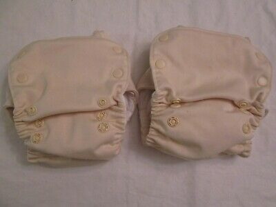 Lot 2 GroVia AIO All In One Cloth Diapers One Size Vanilla Elastic is Loose