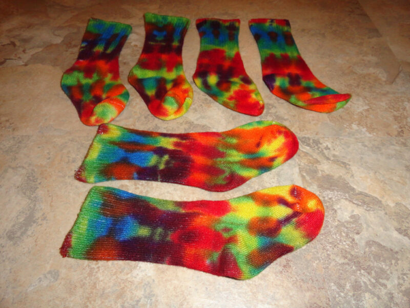3pr Hippie Tie Dye Dyed Rainbow Kids Youth Bamboo Socks shoe size 2-4.5 Small