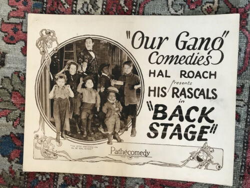 """Back Stage 1923 Hal Roach/Pathe 11x14"""" silent comedy title lobby card Our Gang"""