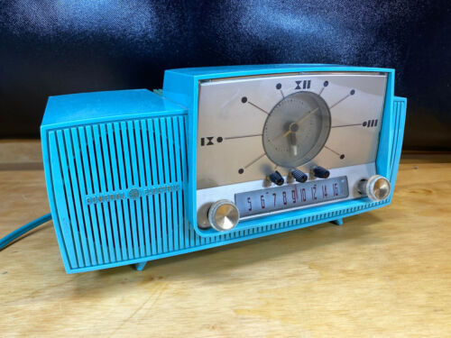 Vtg General Electric Turquoise Blue Radio 1958? Alarm Clock 50s