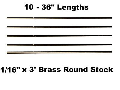 116 X 3 Brass Round Stock 10 - Lengths Solid 36 Long Rods Mil Finish New