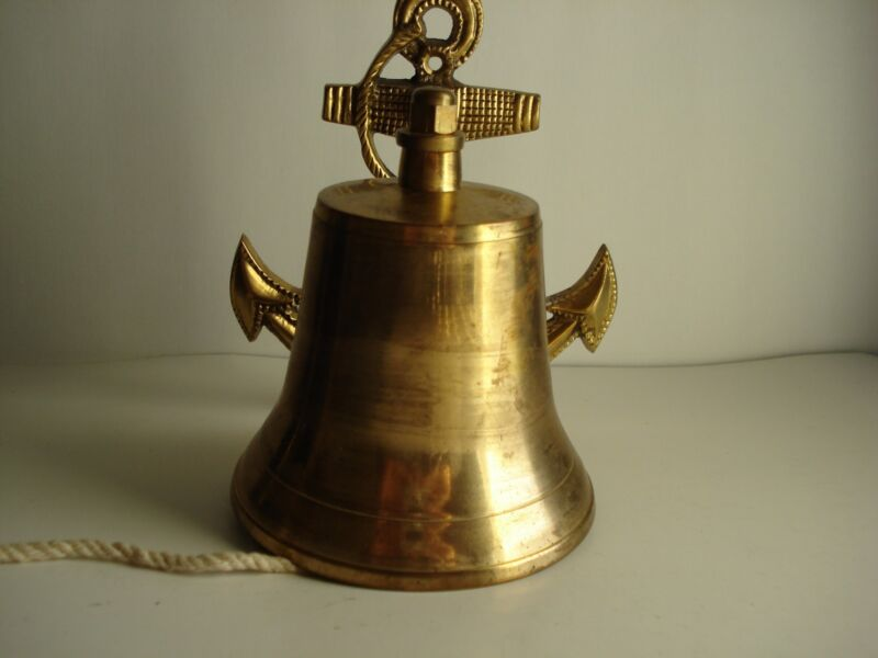 VINTAGE BRASS BELL NAUTICAL, BRASS ANCHOR WALL MOUNTING
