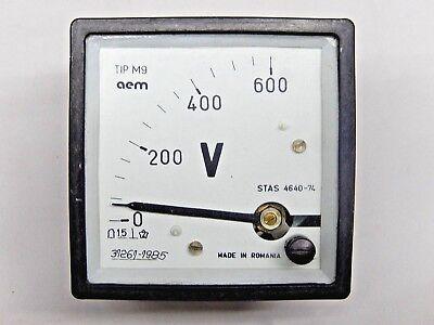 Romanian Rem Military Voltmeter 0-600v 1.5 From 1980s Panel Meter.