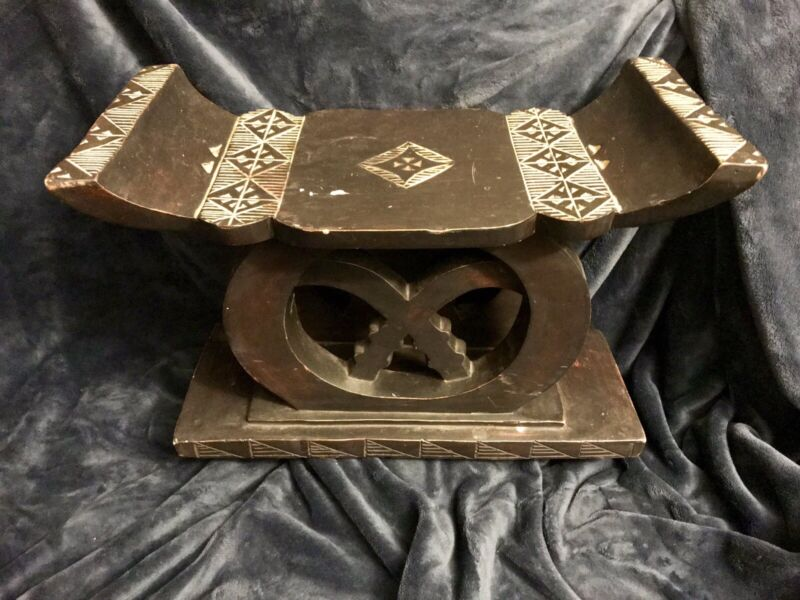 Vintage Hand Carved African Tribal Ashanti Wooden Stool Throne 13x20