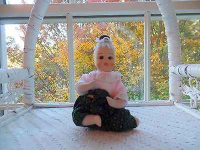 "Thai Toddler Doll Green/Black Pants Porcelain and Cloth 5.5"" Tall Seated  (New)"
